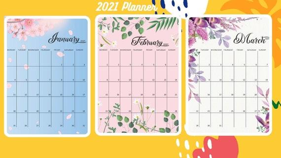 2021 Calendar Printable 2021 Calendar Template Monthly | Etsy