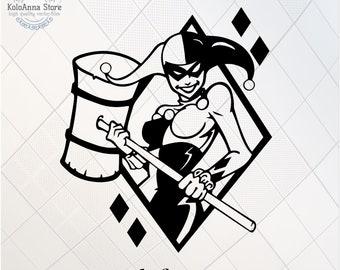 SALE eps Harley Quinn clipart files svg Harley Quinn svg cut files png Harley silhouette dxf ST115 joker cricut files