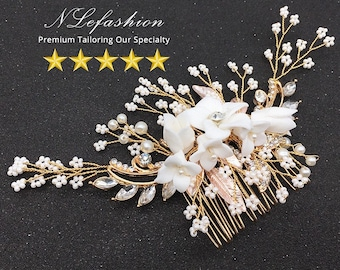Bronze ▷ Bridal Hair Combs to Choose • Floral Wedding combs • Bridal Hair Accessories • FREE Local Pick up in Toronto, Canada