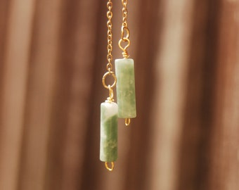 Green Jade Earrings, Dangle Simple Chain, Natural Gemstone,Dainty Birthstone Jewelry,Vintage Crystals Stone, Threader, Gift For Her