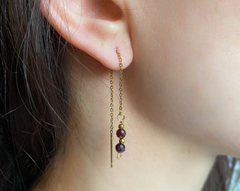 Natural Obsidian Stone Earring Dangle Earring Mother/'s Day Gift Gemstone Beads,18K Gold Color Plated Minimalist Black Birthstone