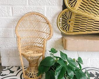 Vintage Boho Raffia Peacock Chair SmallPlant Stand Size