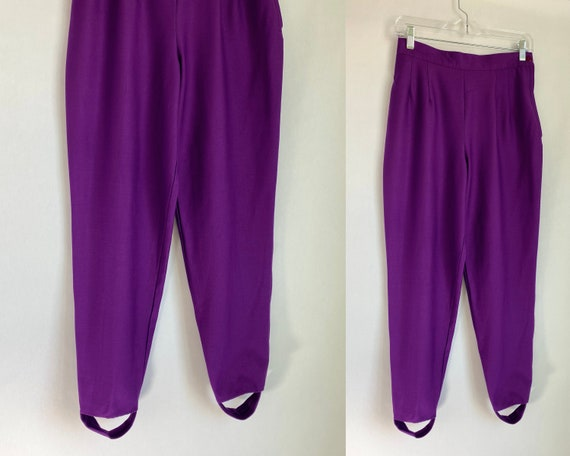 Vintage '80s High Waisted Stirrup Pants | Purple S