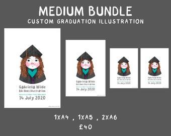 Medium bundle: Custom Graduation Illustration | A4 | A5 | A6 | Personalised Illustrated Portrait | Graduation Gift | Commemorative Print