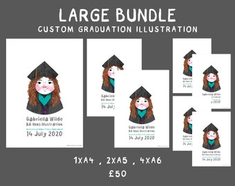 Large bundle: Custom Graduation Illustration | A4 | A5 | A6 | Personalised Illustrated Portrait | Commemorative Print | Graduation Gift
