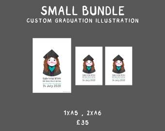 Small bundle : Custom Graduation Illustration | A5 | A6 | Personalised Print | Graduation Gift
