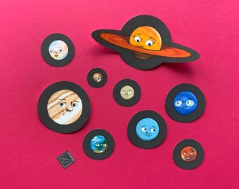 Waterproof Matte Planet Sticker Set | Solar System Stickers | Illustrated Planets