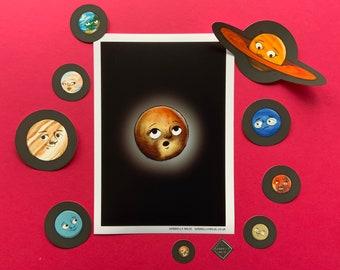 Print and Sticker Planet Bundle | A5 Illustrated Planet Print | Solar System Digital Illustration Print