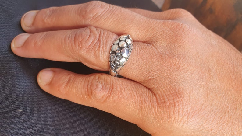 Silver ring classic-elegant-ethnic riverbed decoration only silver R6 p