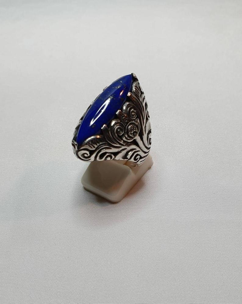 925/% silver ring and lapis lazuli nickel free R 5 lapis