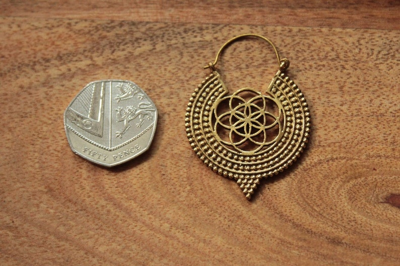 Brass Earrings Seed Of Life Dotted Hoops Tribal Earrings Ethnic Gypsy Hoops