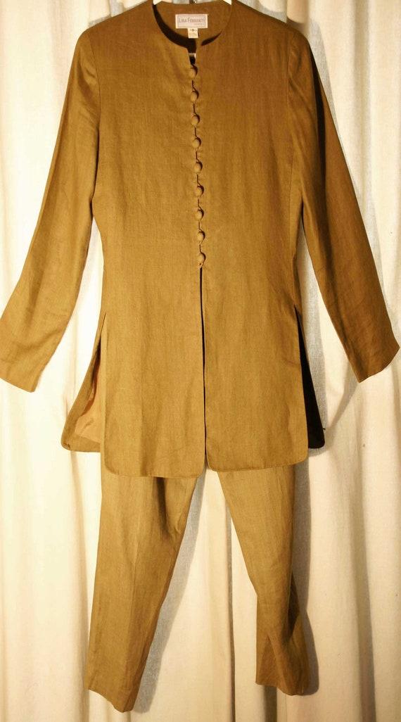100% Linen Pant Suit by Lisa Ferranti Venezia size