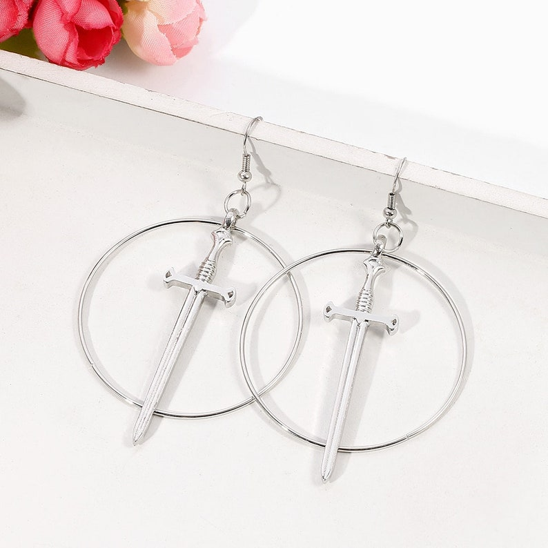 Gothic Jewelry Dagger /& Hoop Earrings witchcraft earrings medium earrings