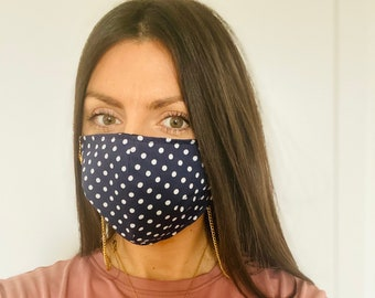 Navy blue polka dot reusable 100% cotton lined face mask, option to have it with gold/silver chain or without