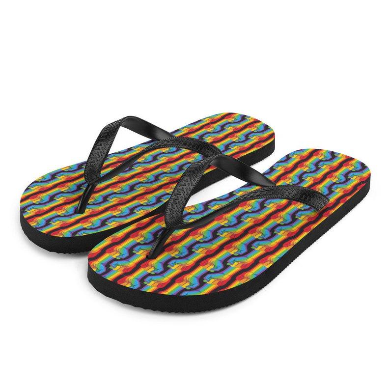 Rainbow Rights Flip-Flops