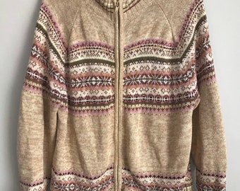 Tiara International Vintage Christmas Sweater Vest M Beige Beaded Embroidered