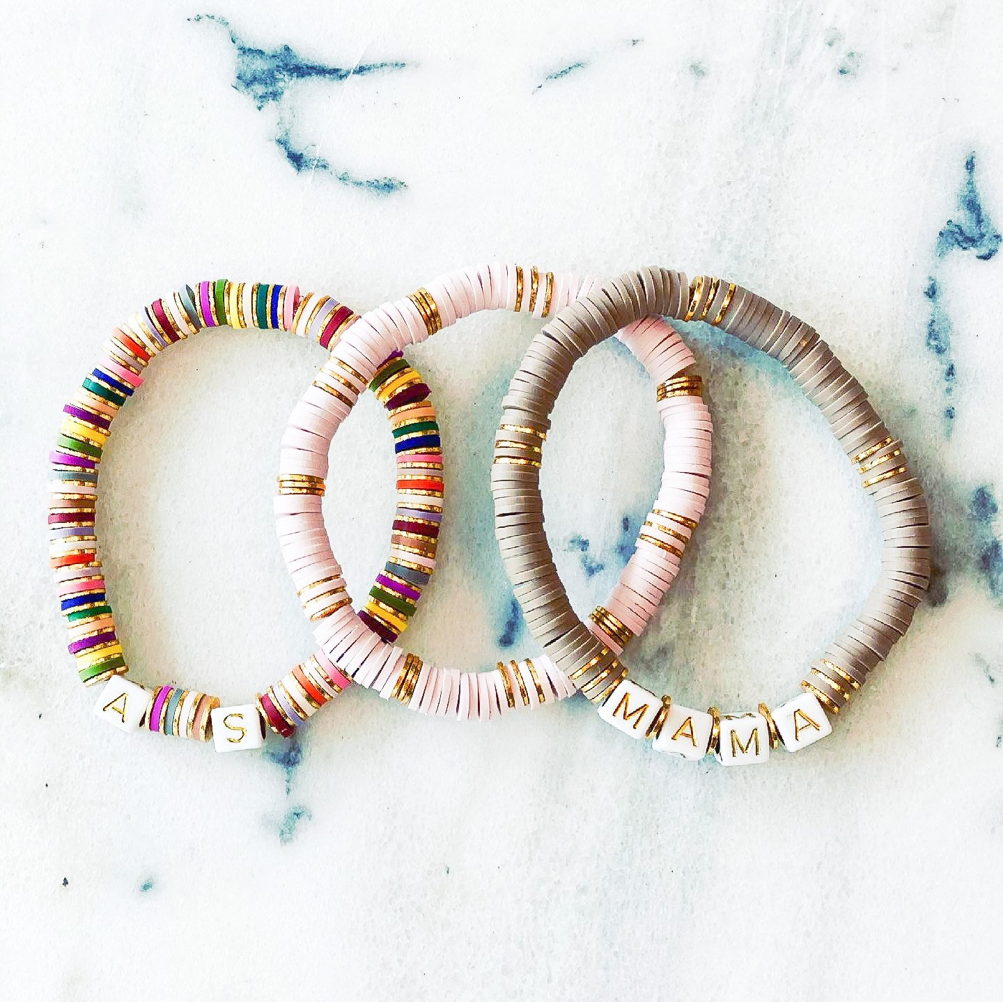 6mm Neutral Mama Heishi Bead and Gold Plated Stacking Bracelet