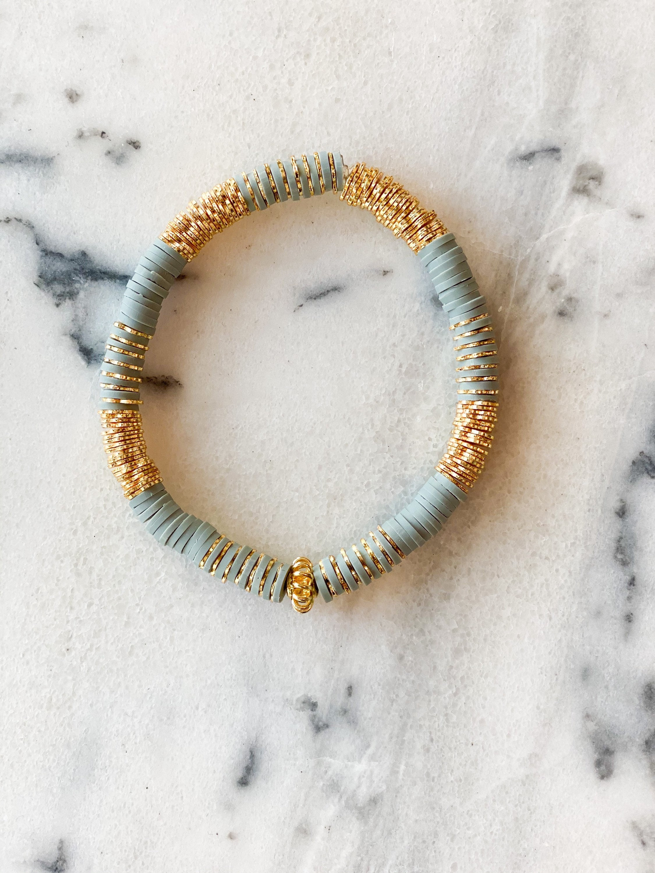 6mm Heishi and Textured gold plated beads stacking bracelet