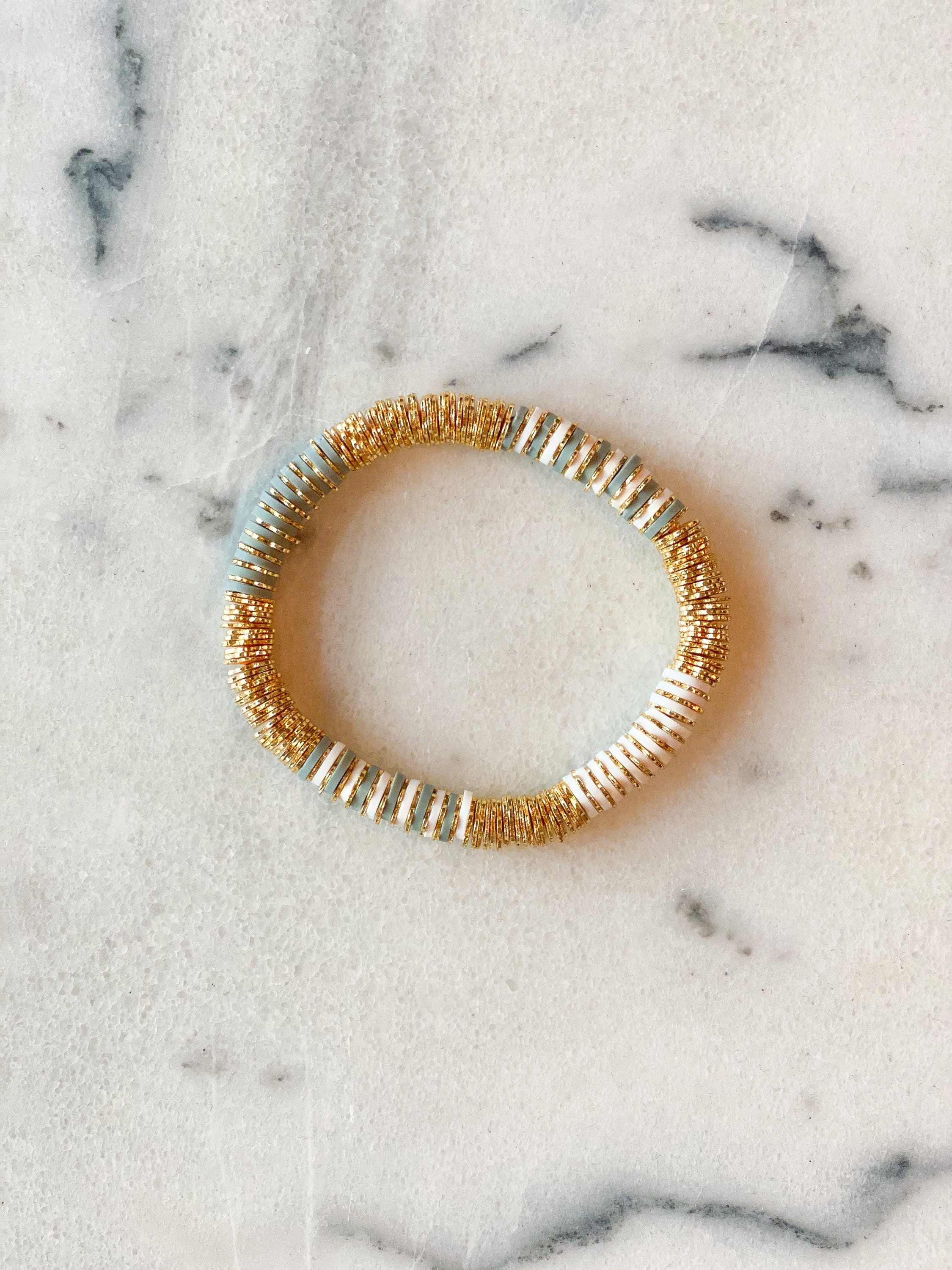 6mm Textured Gold Plated and Custom Heishi Beaded Bracelet