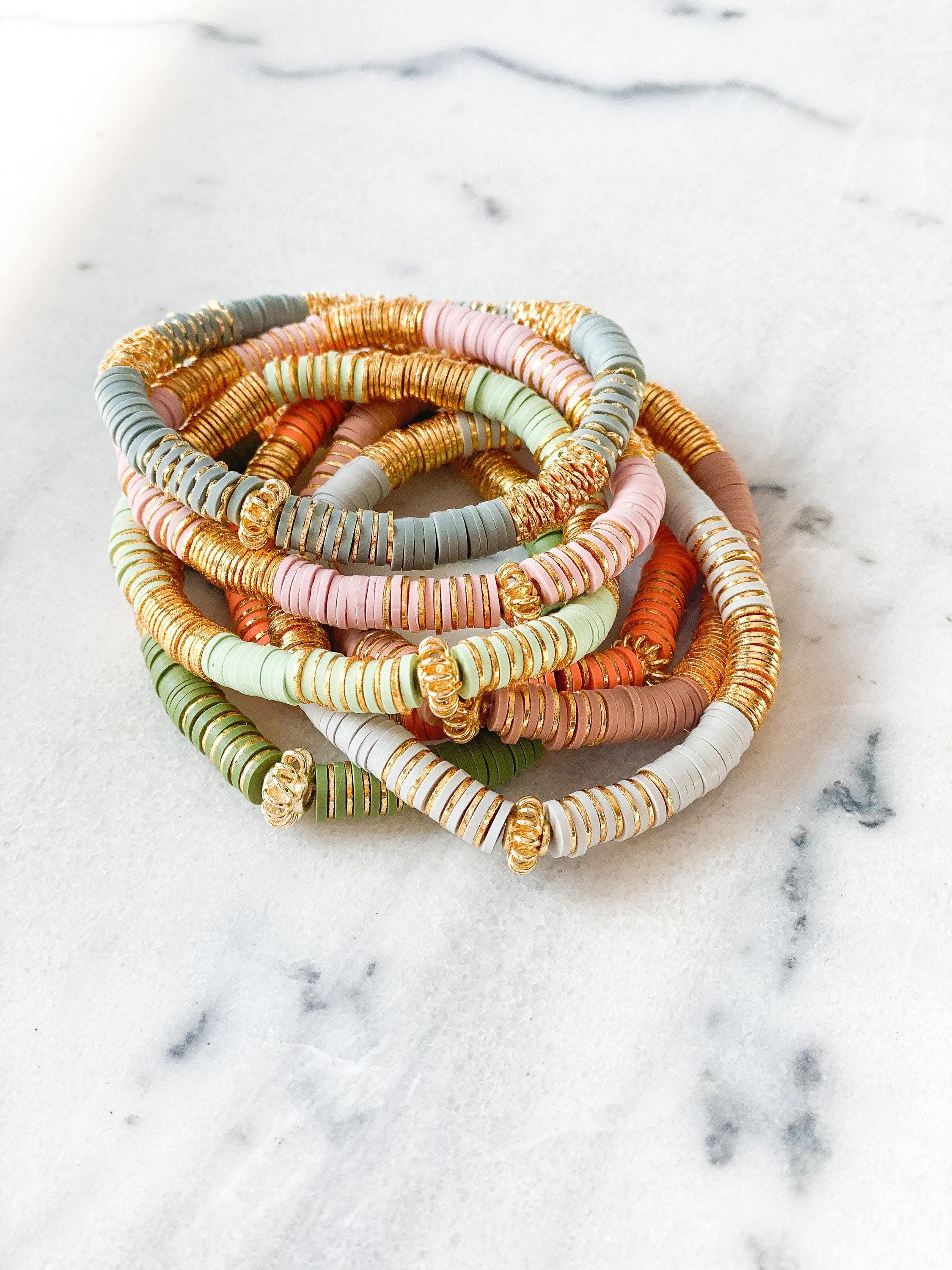 6mm Heishi and Gold Plated Stacking Bracelets