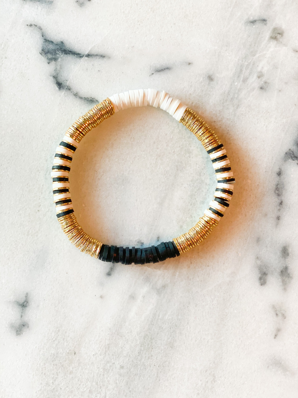 The Sydney Bracelet: 6mm Black, White, Gold Plated Heishi Bead