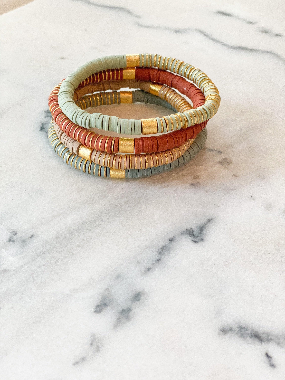 6mm Solid Colorblock Heishi Stacking Bracelet