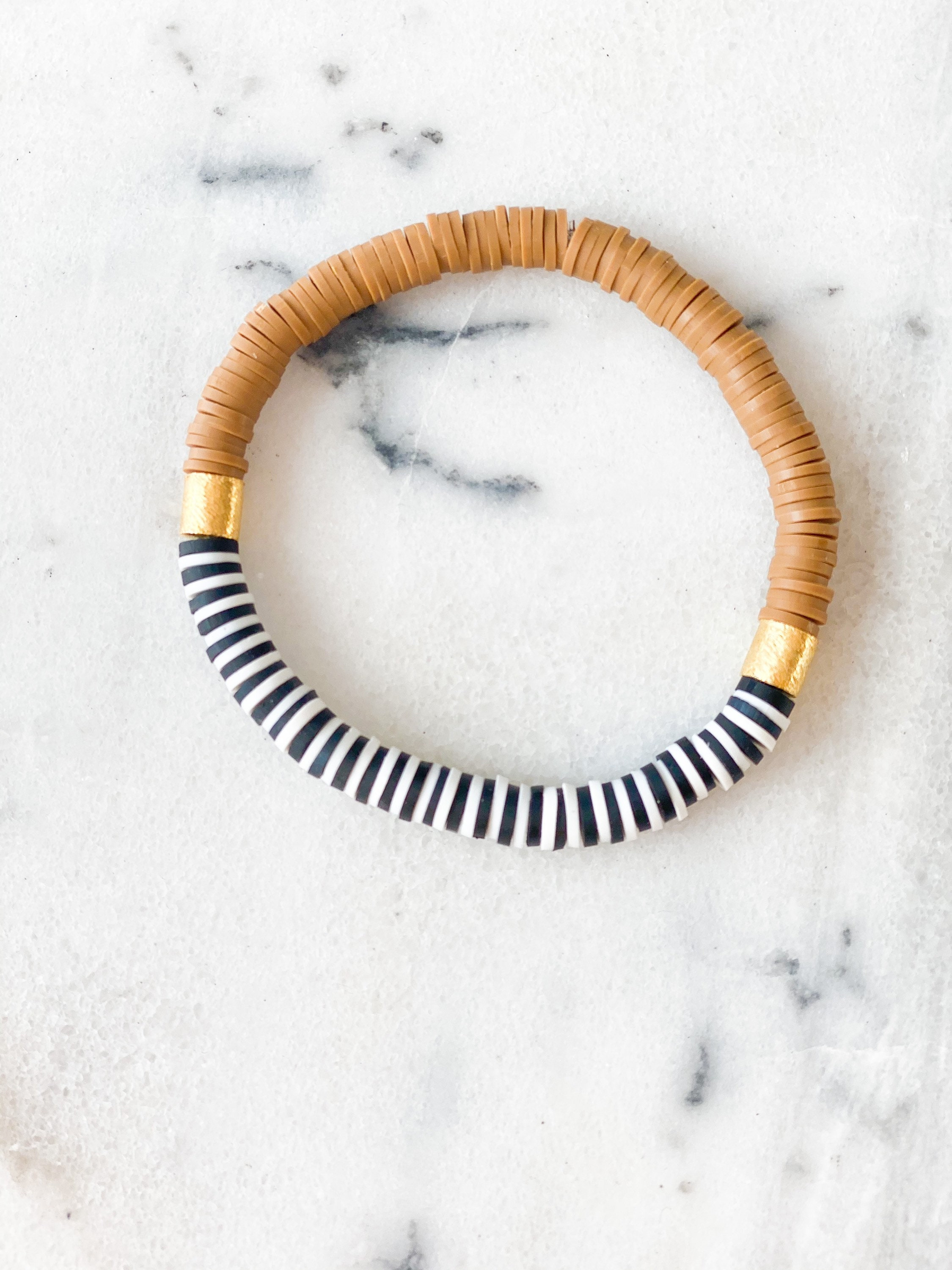 Colorblock Bracelet: 6mm Heishi Beads with Gold Plated Beads