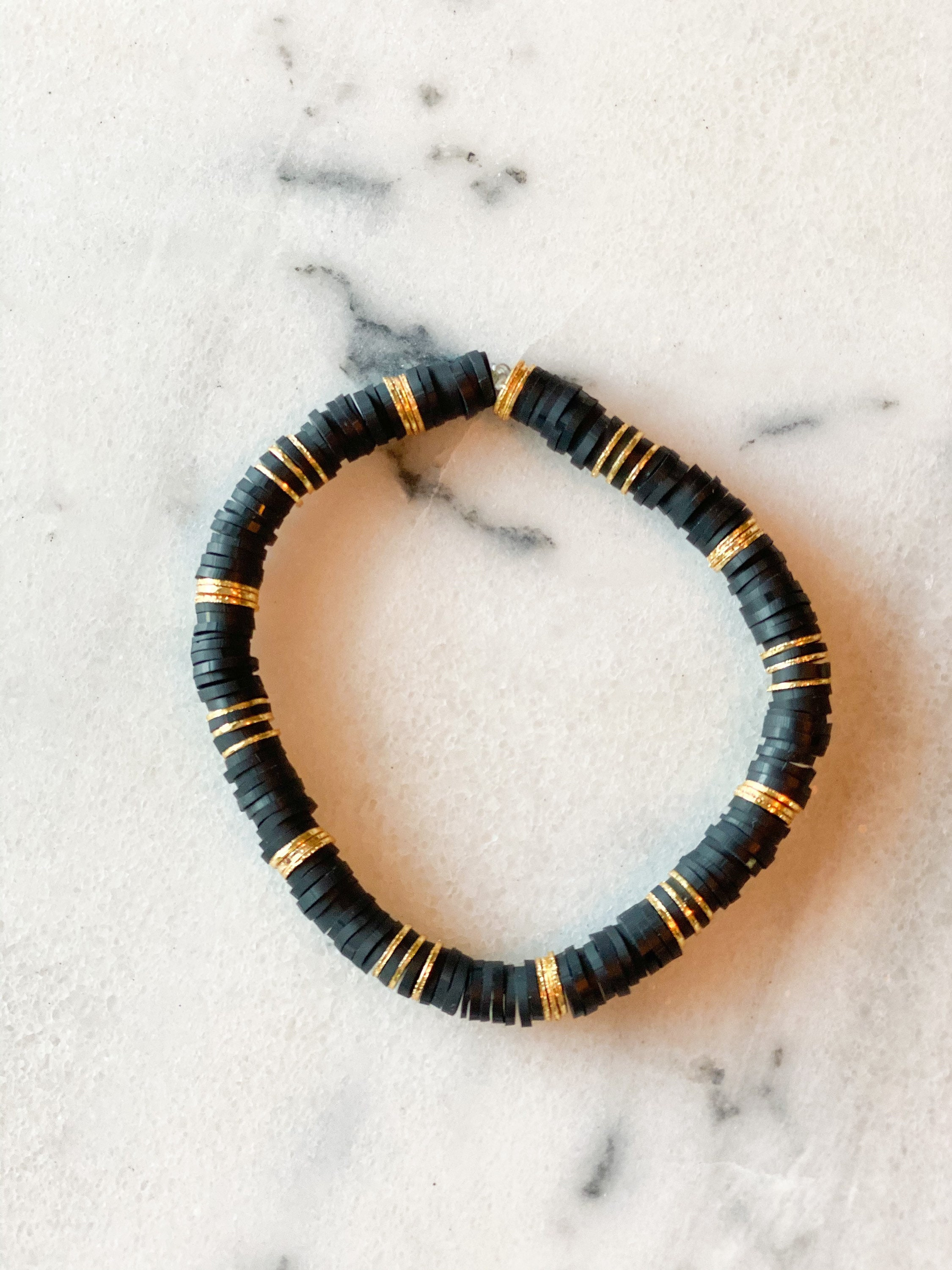 The Augusta Bracelet: 6mm Heishi and Gold Plated Stacking Bracelet