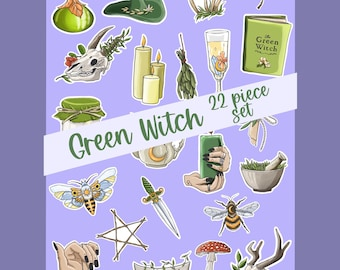 Green Witch Planner Stickers   Bullet Journal Stickers   Matte Sticker Sheet   Witchy Scrapbooking Stickers   Functional Planner Stickers