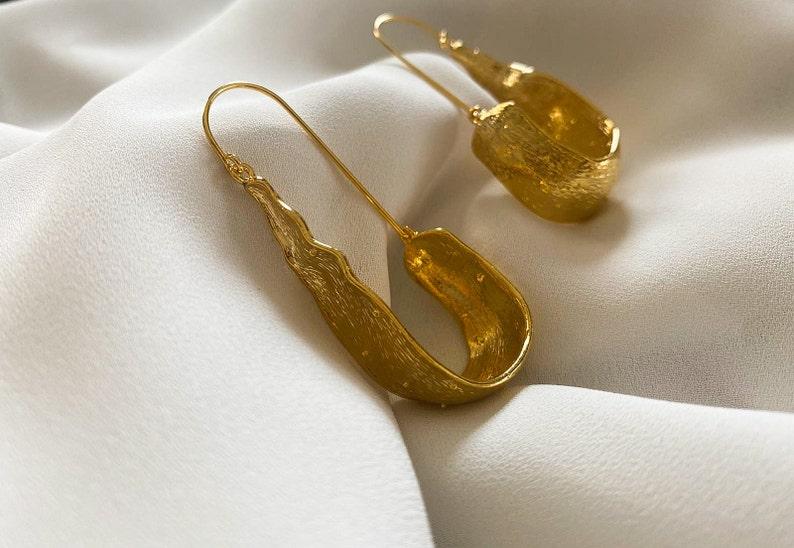 Brutalist Earring,Vintage Gold Plated Earrings,Gold Plated Earrings