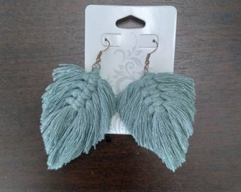 Soft Green Macrame Feather Earrings