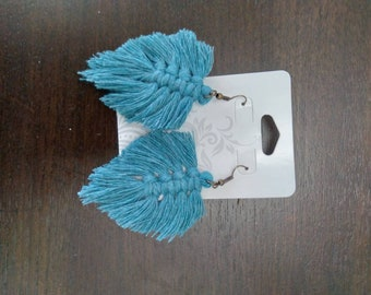 Blue Macrame Feather Earrings
