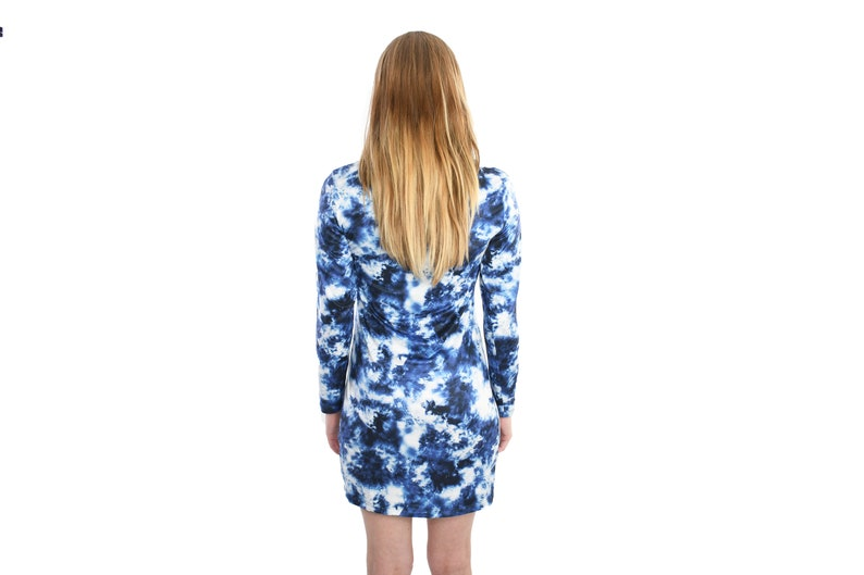 Indigo X-ray Tie Dye Long Sleeve Dress