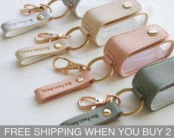 Hand Sanitizer Keychain (Buy any 5+ Save 25%) Vegan Leather - Handsanitizer luggage holder - Hanukkah Gifts - Christmas Stocking Stuffers