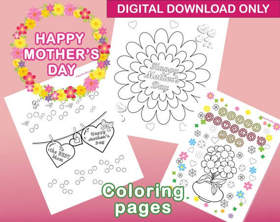 Happy Mother's Day Printable Coloring Pages / Instant
