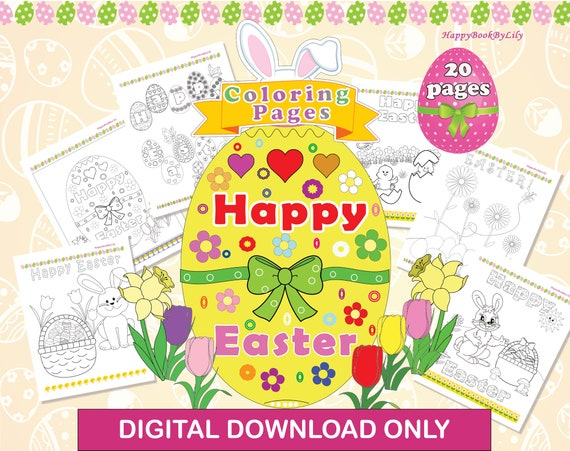 Easter Printable Coloring Pages / Instant Digital Download