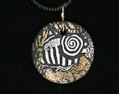 Black, White, Silver & Gold Leaf Handmade Necklace with polymer clay geometric contemporary design