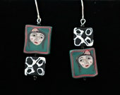 Empowered Women Earrings with handmade polymer clay beads