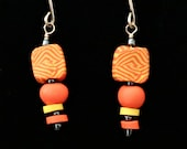 Summer Fun Earrings handmade with polymer clay bright colors and fun patterns (yellow, orange)
