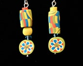 Summer Fun Earrings handmade with polymer clay bright colors and fun patterns