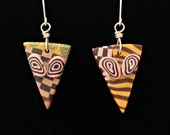 Patchwork Design Earrings Handmade Polymer Clay