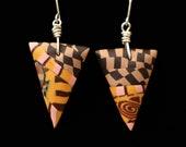 Patchwork Design Earrings Handmade Polymer Clay