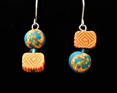 Summer Fun Earrings handmade with polymer clay bright colors and fun patterns (yellow, orange, turquoise)