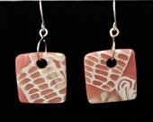 Lace Series Handmade Polymer Clay Earrings layered with translucent clay and white designs