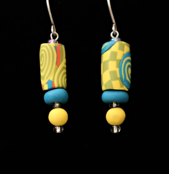 Fun Polymer Clay Earrings The Neon Watercolor Collection    Handmade Unique Bold Bright