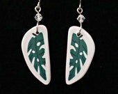 Monstera Leaf Earrings handmade polymer clay with crystal and sterling silver wires