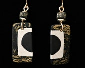 Black, White, Gold leaf handmade Earrings with polymer clay geometric contemporary design