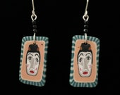 Empowered Women Earrings with handmade polymer clay face beads