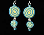Summer Fun Earrings handmade with polymer clay bright colors and fun patterns (yellow, turquoise)