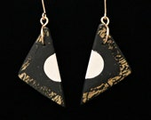 Black, White, and Gold leaf Handmade Earrings with polymer clay geometric contemporary design